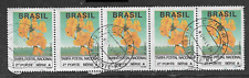 BRAZIL POSTAL ISSUE - USED STRIP OF 5 DEFINITIVE STAMPS 1992 - NO VALUE STAMPS