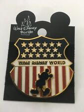 WDW Disney Mickey USA Flag Shield 3D American Flag Pin New on Original Card