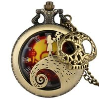 Retro Pocket Watch Quartz Steampunk Necklace Pendant Chain Gift with Decorations