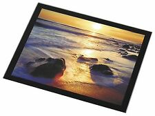 Secluded Sunset Beach Black Rim Glass Placemat Animal Table Gift, SUN-1GP