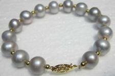 "NATURAL 9-10MM ROUND SOUTH SEA GENUINE GRAY PEARL BRACELET 7.5-8"" 14K GOLD CLASP"