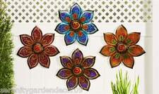 Set of 4 Large Painted Glass & Iron Flower Design Indoor Outdoor Wall Decor NEW