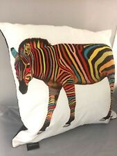 NEW LARGE CUSHION PILLOW RAINBOW ZEBRA ANIMAL CREATIVE CUSHIONS PACKAGED