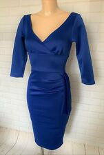 BEAUTIFUL BLUE PLUNGE NECK BODYCON WIGGLE PENCIL DRESS SIZE 8 - 18