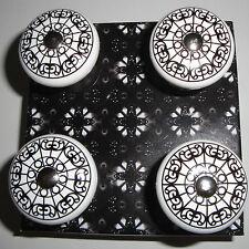 4x Möbelknopf Keramik Vintage Ornament 3,5cm Möbelgriff Griff Möbelknauf TOP neu