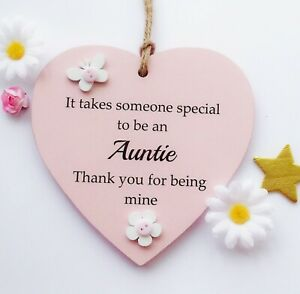 It takes someone special to be an Auntie handmade wooden heart gift plaque
