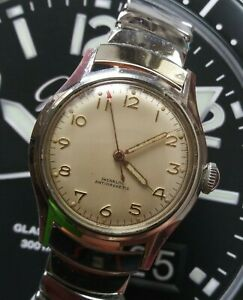 1950s Mens Swiss Made Jeweled Wind Up Wrist Watch
