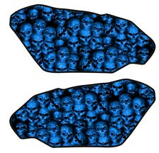 Motorcycle Side Gas Tank Pad 3D Gel Skull Wall Blue Protector Side Guard