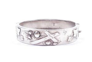 Antique Victorian Bangle Sterling Silver 1886 Hallmarked Cross & Leafs 16.8g