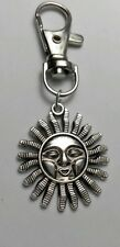 Sun with smiling face Tibetan Silver Keyring,Handbag, Bag,Purse Charm Zip Puller