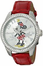 Official Disney/Ingersoll Diamante Minnie Mouse Watch With Red Strap 25655