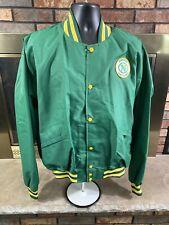 Vintage Minnesota North Stars NHL Hockey Snap Satin Jacket Mens Size XXL Green