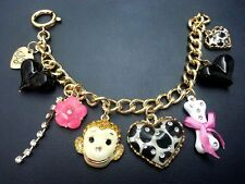 B396 Betsey Johnson Baby Monkey Leopard Heart Bone Charm Chain Bracelet US