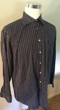 Paul Fredrick Men's 16.5 - 35 Blue 100% Cotton Button Front Long Sleeve Dress Sh