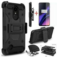 For OnePlus 6T Hybrid Armor Rugged Hard Case Cover Clip Holster+Tempered Glass