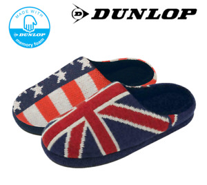 Men's Dunlop Union Jack USA Stars and Strips Comfort Memory Foam Mule Slippers
