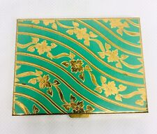 Beautiful Vintage Zell 5th Avenue Green Enamel Makeup Compact Enamel Intact