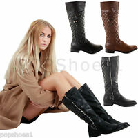 WOMENS LADIES FLAT LOW HEEL WINTER QUILTED RIDING ZIP CALF KNEE BOOTS SIZE
