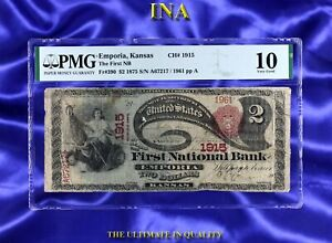 1875 The First National Bank of Emporia Kansas $2 Fr# 390 CH#1915 PMG VG 10 Rare
