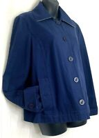 LL Bean Womens Coat Canvas Blue Nautical Button Up Jacket Collared Large Regular