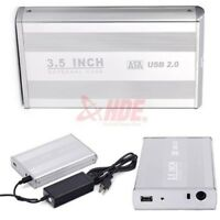 """3.5"""" Inch USB 2.0 SATA HDD Hard Drive External Enclosure Case Cover Box w/ Cable"""