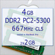 4 GB Ram APPLE Mac MacBook// MINI DDR2 Pro 667 MHz PC2-5300 200 PIN SODIMM 2x2GB