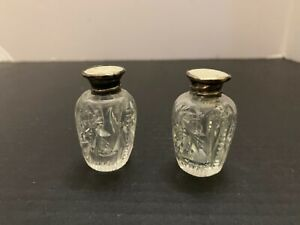 Vintage Cut Glass Salt and Pepper Shakers Mother Of Pearl Sterling Silver Tops