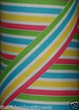 """38mm (1.5"""")  wide GREEN/BLUE/YELLOW/PINK/WHITE STRIPE WOVEN DOUBLE SIDED RIBBON"""