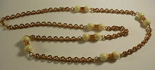 Gold Colored Chain and Ivory Colored Bead Necklace
