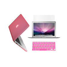 "3 in 1 Rubberized PINK Case for Macbook PRO 13"" + Keyboard Cover + LCD Screen"