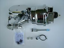 "1955-57 Chevy 7"" Dual Chrome Brake Booster Kit Chrome Side Disc/Drum 6L6B2"