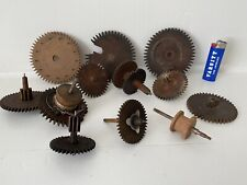 12 Antique American Wooden Works Movement Shelf Clock Parts Gears Cogs 19th C