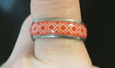 Boho Hippie Orange/Red & White Ring Stainless Steel Banded Style Womens Sz 8.5