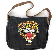 Ed Hardy Messenger Crossbody Bag Tiger Spellout Studded Strap Dark Gray  Unisex d8a1ac5722