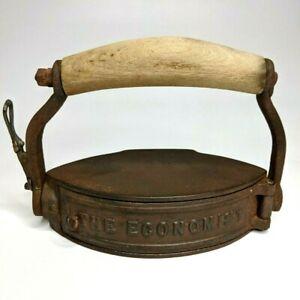 1880s The Economist Charcoal Clothes Iron Coal Cast Fold Handle Brass Antique E3