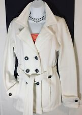 Maurices Jacket Lightweight Peacoat White Double Breasted Cotton Blend Sz M