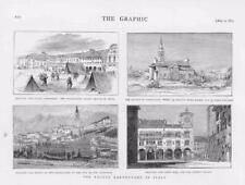 1873 antica stampa-ITALIA BELLUNO TERREMOTO Municipio Piazza PORTICO IN CAMPITELLI (02 A)