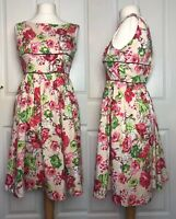 Lindy Bop Floral fit and flair Dress Size 10