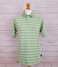 Adidas Clima Lite Mens Green White Stripe Short Sleeve Collared Polo Shirt Top M