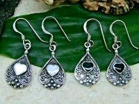 Damen Ohrringe 925 Echt Silber Herz Perlmutt schwarz Stein Vintage Ohrhänger