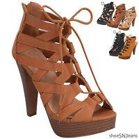 New Women Fashion Stiletto Heel Gladiator Strappy Lace Up Sandal Platform Shoes