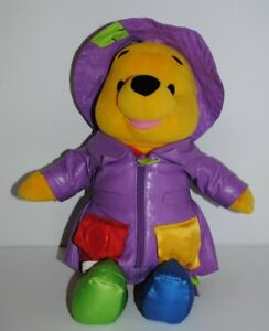 Talking Winnie The Pooh Bear Toy 13.75 Inch Fisher Price Disney Plush Raincoat