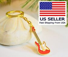 Red Guitar Keychain,  24K Gold plate, pefect music Gift