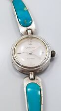 Modern Beautiful Sterling Silver 925 Turquoise Gem Time Ladies Wrist Watch