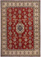 Geometric RED/IVORY Super Kazak Oriental Area Rug Hand-Knotted Wool Carpet 9x12