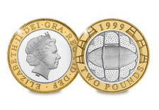 1999 £2 RUGBY WORLD CUP TWO POUND COIN, CIRCULATED/USED