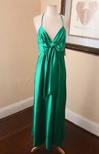 Jessica McClintock Green Bow Slinky Formal Evening Gown Dress Size 6 V-Neck Prom