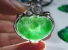 Fine Natural Type A Emerald Jadeite Jade Big Ruyi Jewelry Pendant 18K