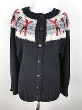 Coldwater Creek Sweater Size Medium M Skiing Skis Pole Winter Cardigan Fair Isle
