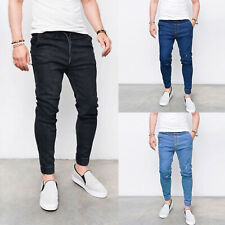 Mens Joggers Skinny Sports Jeans Slim Fit Stretch Frayed Denim Pants Trousers
